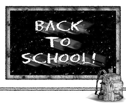 Back to school - blackboard and backpack