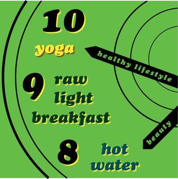 Healthy lifestyle - yoga, raw light breakfast, hot water