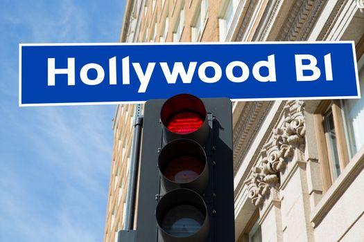 Hollywood Boulevard sign illustration California
