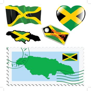 set of different symbols in national colours of Jamaica