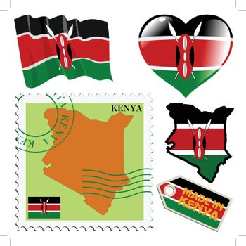 set of different symbols in national colours of Kenya