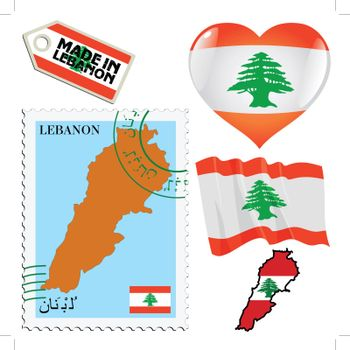 set of different symbols in national colours of Lebanon