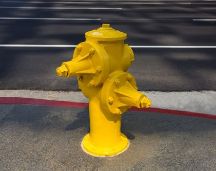 Fire hydrant yellow on downtown Los Angeles