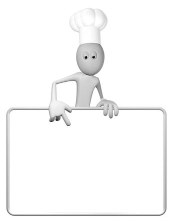 cartoon guy with cook hat and blank white board - 3d illustration