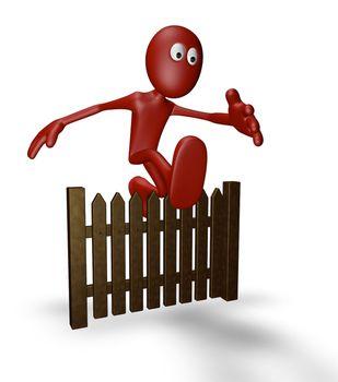 cartoon guy jumps over wooden fence - 3d illustration