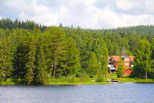 Swedish houses near lake