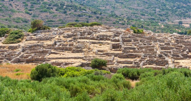 Ruins of the ancient Minoan settlement Gournia. Crete, Greece
