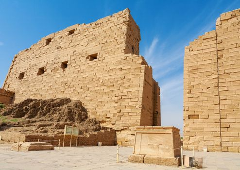 The first tower gate at Temple of Karnak. Thebes, Luxor, Egypt, North Africa