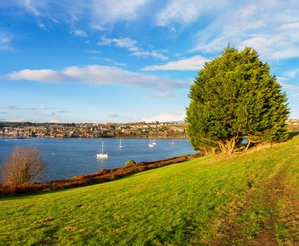 View of Kinsale town and harbour. Cork County, Munster, Ireland