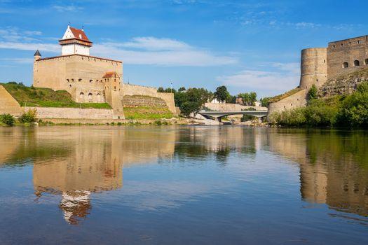 Hermann fortress in Narva, Estonia and Ivangorod Fortress in Russia. Europe, Estonian-Russian Border