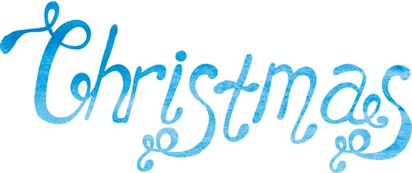 Vector illustration of Watercolor Christmas type