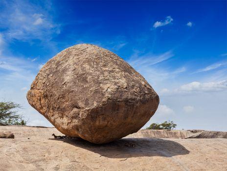 Krishna's butterball -  balancing giant natural rock stone, Maha