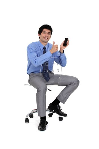 businessman very satisfied with his cell