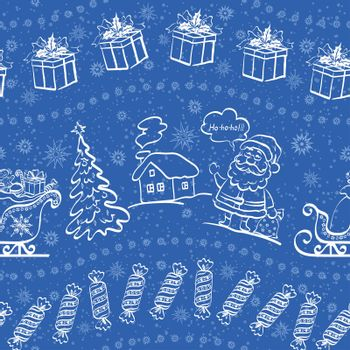 Christmas seamless pattern for holiday design, white contours on blue background.