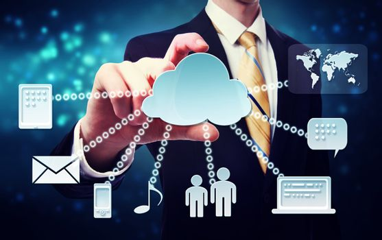 Business man with cloud connectivity concept