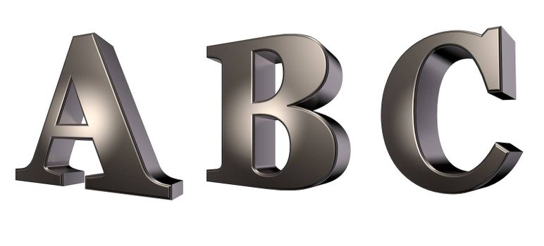 metal  letters a, b and c on white background - 3d illustration