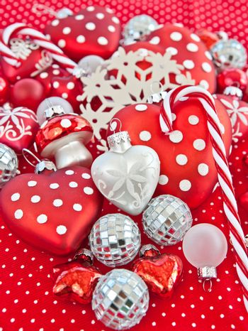 Christmas decoration in red and white