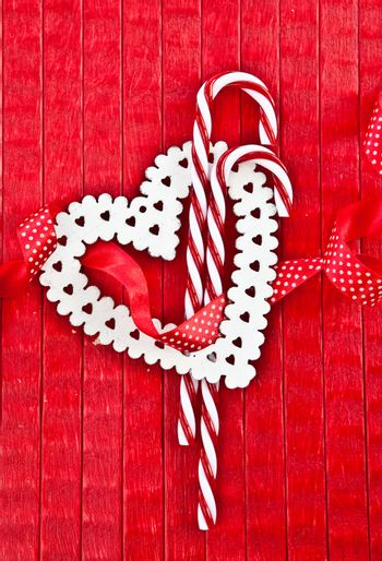 Red background with candy canes