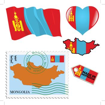 set of different symbols in national colours of Mongolia