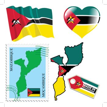 set of different symbols in national colours of Mozambique
