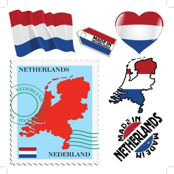 set of different symbols in national colours of Netherlands