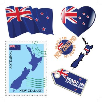 set of different symbols in national colours of New Zealand