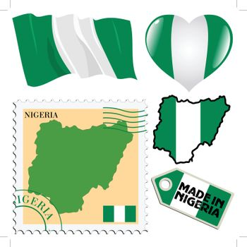 set of different symbols in national colours of Nigeria