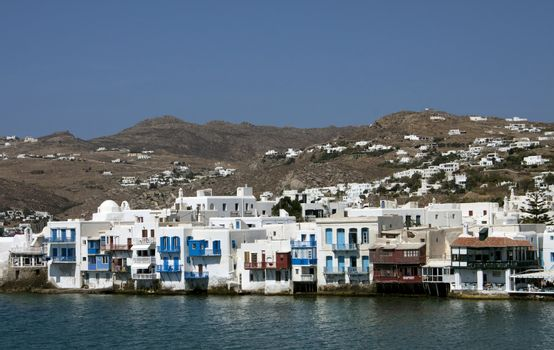 View on mysterious Mykonos city