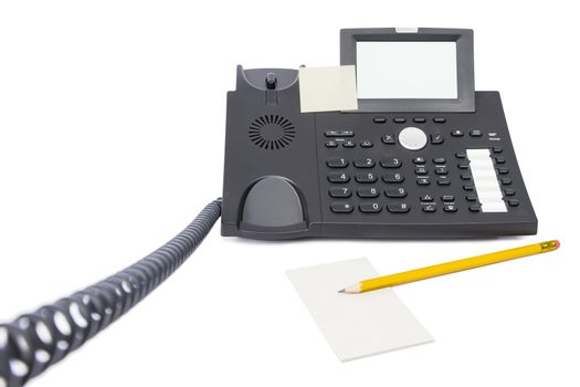 modern business phone with pencil isolated on white background