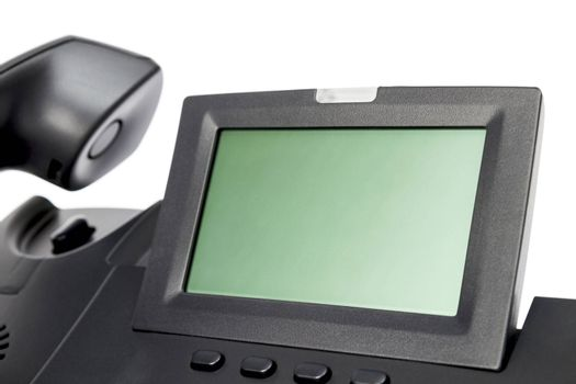 display of modern business phone isolated in white background. close up