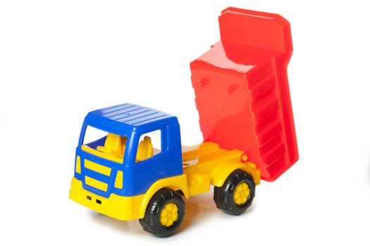 Colorful toy truck isolated over white background