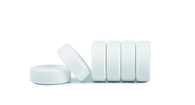 Close up view of white pills
