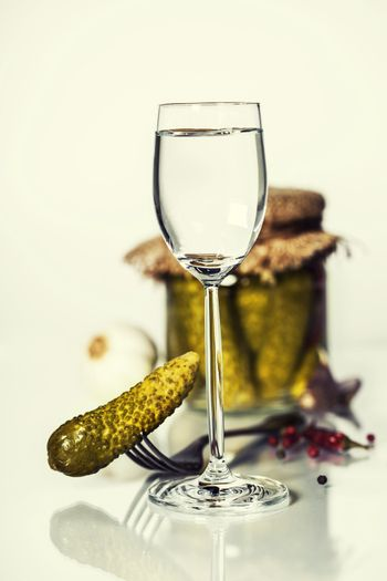 Russian vodka with pickles