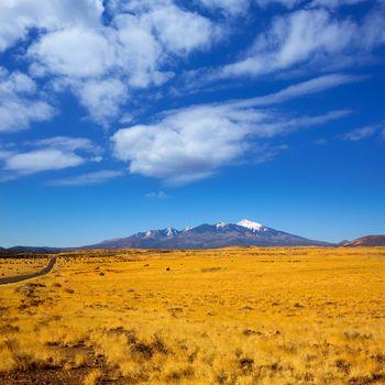 Arizona Highway 89 US with view of snow Humphreys peak