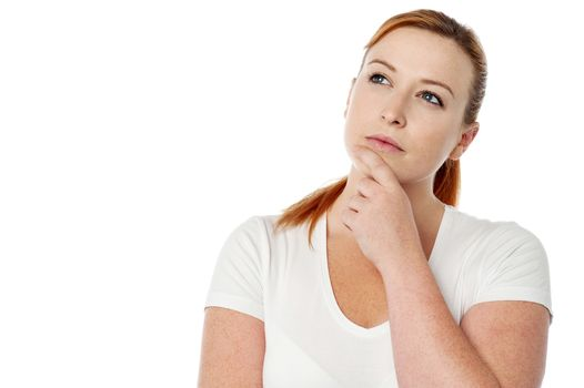 Woman thinking of a solution to a problem