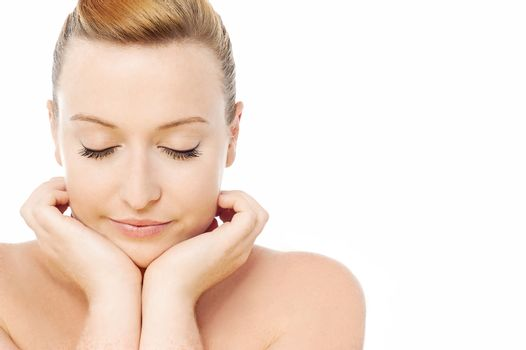 Calm and beautiful spa girl with closed eyes