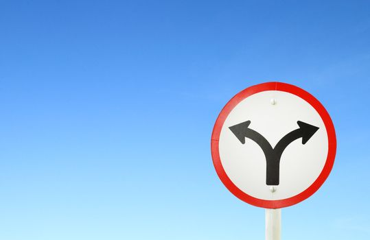 fork junction traffic sign