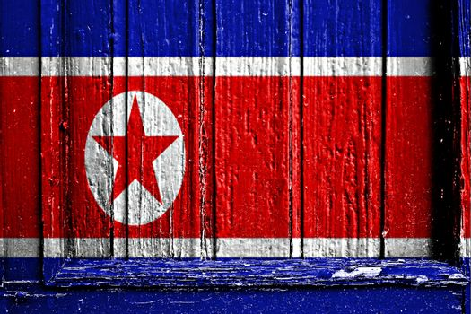 flag of North Korea painted on wooden frame