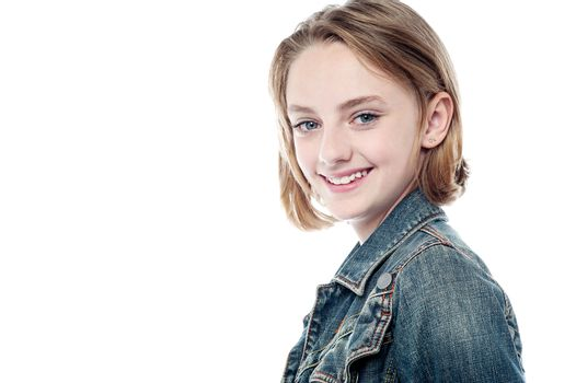Pretty girl in trendy denim jacket