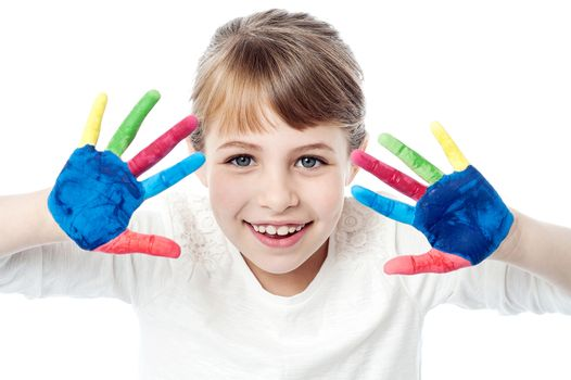 Pretty girl with painted hands