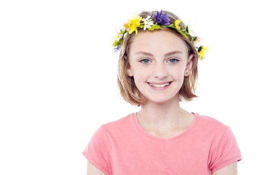 Girl wearing flowers crown