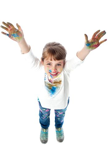Kid showing painted hands to camera