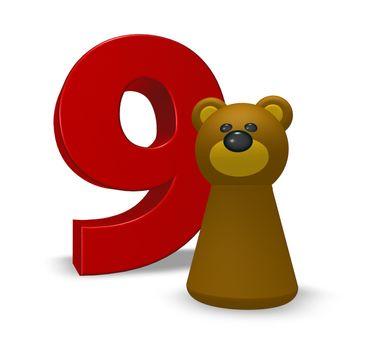 number nine and brown bear - 3d illustration