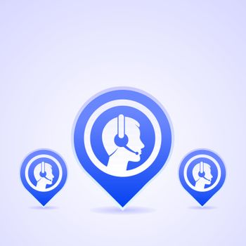 Blue icon set with operator head and headset