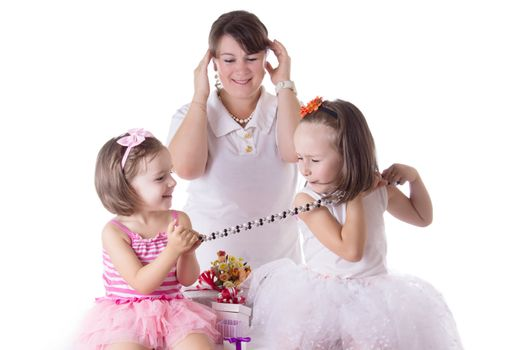 Mother having headache of two daughters quarreling