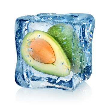 Avocado in ice cube