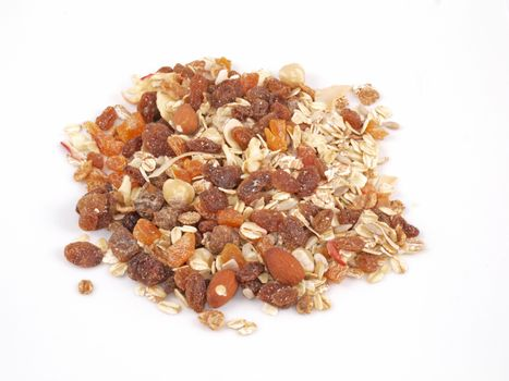 Fresh organic Muesli on a white background.