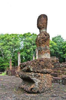 Laterite buddha image in Satchanalai Historical Park of Thailand
