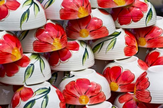 Ceramic plate or porcelain cup with colorful