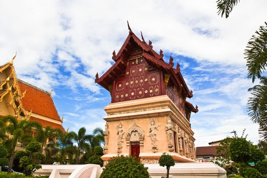 Scripture hall in Thai Buddhist temple. Wat Phra Singh , Chiang Mai province, Thailand